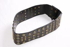 Alla Moda Donna Nero Larga Cintura in Vita W diverse borchie di rame (S348)