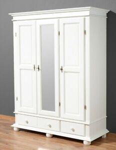 Kleiderschrank Fichte massiv weiß Spiegeltür Garderobenschrank Landhaus