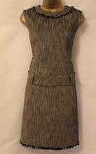 Karen Millen Tailored Tweed Wide Drop Waist Shift Smart Fringe Wool Dress 14 42