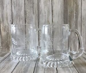 Stunning Pair Of Large Pint Polish Glass Crystal Tankards With Wheat Sheaf  VGC