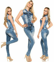 Women Skinny Jeans Jumpsuit Sexy Ladies Clubbing Denim Overall Size 6 8 10 12 14