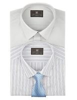 EX M&S Marks And Spencer 2 Pack Easy Care Long Sleeve Assorted Shirts With Tie