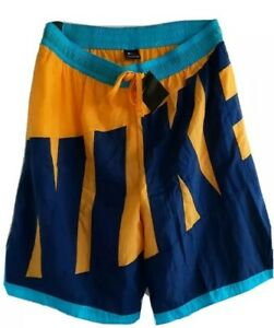 NIKE MENS SWIMMING TRUNKS SHORTS YELOW NAVY TEAL COLORS LOOSE FIT SIZE XXL NWT