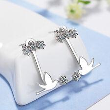 Women Cute Fashion 925 Sterling Silver Zircon Cute Mini Pigeon Ear Stud Earrings