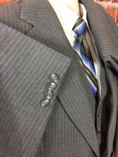 Stafford Mens 3pc Suit Grey Striped Wool Sz 42 Long 34x31 (t5)