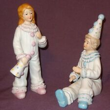 Circus Clowns Boy Girl Party Ceramic Figurines Pink Blue White 7""