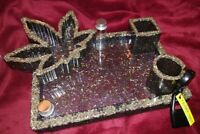 Beautiful Handmade Black Midnight Shimmering Weed Tray With Accessories....