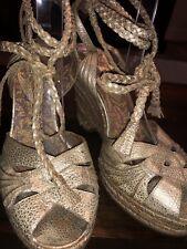 Ana Sui  Wedge Gold Lamé Sandals 8.5