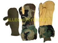 US Military Woodland Camo Trigger Finger Hunting Mittens w/ OD Liners Large VGC