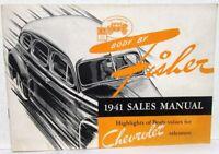 1941 Chevrolet Dealer Salesmen Fisher Body Handbook Features Info Sales Brochure
