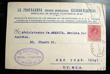 SPAIN POSTAL STATIONERY 1920 LA PROPAGANDA ESCOBAR ESQUIVIAS TO NEW YORK US
