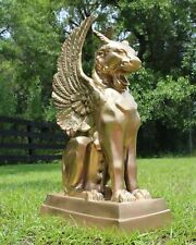 Pair of Gargoyle Griffin Statues in Gold Finish with Wings Cat Face Sculptures