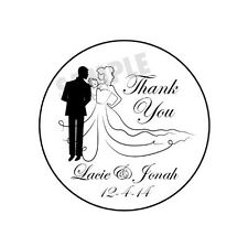 "24 Personalized Bride & Groom Wedding Thank You Favor Labels (1.67"") Glossy"