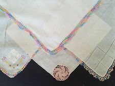 """LOT OF 4 VINTAGE WHITE LINEN HAND TATTED RAINBOW  LACE BORDER HANKIE 11"""" SQ"""