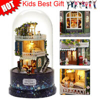 DIY Rotating Music Glass Ball Doll House Model Kits Wooden Miniature Xmas Gift