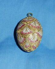 Cloisonne Egg Ornament Pink White & Gold Fan Design