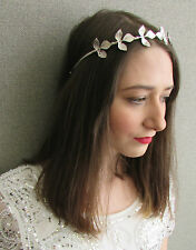 Silver Leaf Headband Headdress Grecian Roman Vintage Greek Goddess Bridal W82