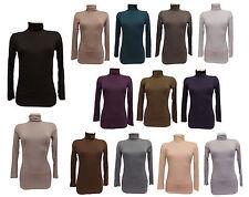 Damen Rollkragen shirt Langarm Pullover Rolli T-shirt Basic Top Neu