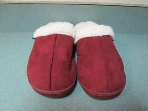 Women's JOCKEY Fur Lined Maroon Suede Slip on Slippers XL 9.5-10 NWOT