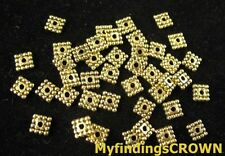 500PCS Antiqued gold beaded square spacer bead FC1422G
