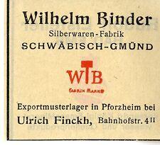 Wilhelm Binder Schwäbisch-Gmünd Silberwaren-Fabrik Trademark 1912