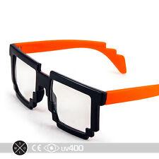 Neon Orange Trendy Dual Color Party Clear Lens 8-Bit Bitmap Glasses 8 Bit S068