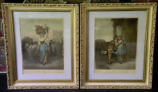 """Two Authentic 1795 Wheatley """"Cries of London"""" Hand Colored Engravings Pl. #8, #9"""