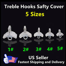 250 pcs Fishing Treble Hooks Safty Protector Cover -5 different size