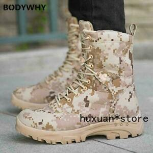 Mens Army High Top  Lace-up Outdoor Military Warm Shoes Camouflage Mid Calf Boot