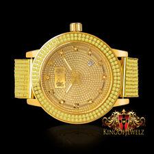 Gold Canary Men Solid Steel Genuine Diamond IceHouse Joe Rodeo 2 Row Bezel Watch