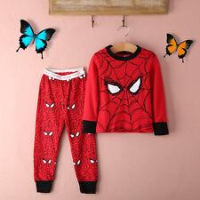 2pcs Kids Boy Long Sleeve Spiderman Cartoon Pyjamas Sleepwear Homewear Clothes
