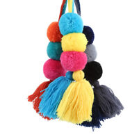 Colorful Tassel PomPom Charm Pendant DIY For Keychain Bag Decor Accessories S