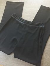 AKRIS black pant silk St Gallen embroidered waist band evening cocktail sz 10