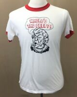 VTG 1980's Wendy's WHERE'S THE BEEF Old Lady Ringer Tee Men's T-shirt L