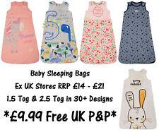 BABY SLEEPING BAG BOYS GIRLS EX UK STORE 1.5 & 2.5 Tog COTTON 0-24M BRAND NEW