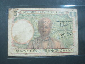 FRENCH EQUATORIAL  AFRICA 5 FRANCS 1941 P6 CHAD GABON CONGO 742# BANKNOTE MONEY