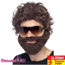 Mens Alan Hangover Brown Stag Do Kit Wig Beard Sunglasses Costume Accessories