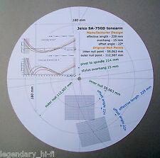 Jelco SA-750D Custom Designed Phono Cartridge Stylus Alignment Protractor