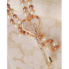 Charm Key Crown Pendant Long Chain Necklace Pearl Crystal Rhinestone Jewelry