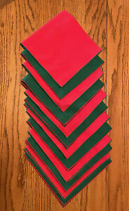 12 Vintage Red/Green Square Fabric Napkins W/Contrast Trim Holiday/Christmas