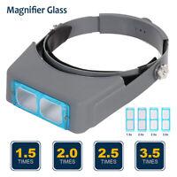 Headband Headset Head LED Lamp Light Jeweler Magnifier Magnifying Glass Loupe AU