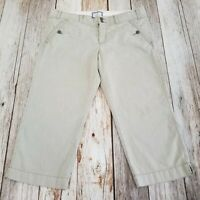 American Eagle Capris Womens 12 Pinstripe White Gray Cotton