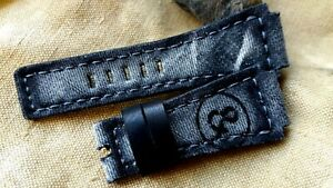 24mm handmade Canvas - leather watch strap, Bell & Ross, Grey - black, BRS