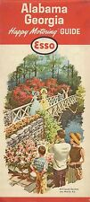 1963 Esso Road Map Alabama Georgia Bellingrath Gardens Mobile Savannah Columbus