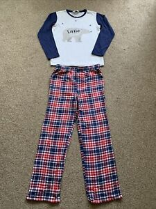 "Boys 2 Piece Pyjama Set Size 13-14 Yrs ""Little Bear"" Blue/White & Tartan"