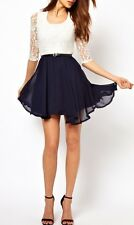 Fashion Sexy Women CHiffon Dress Lace Top Mini Skater Cute Casual