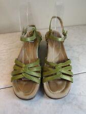 DANSKO Wedge Lt Green Leather Sandals Buckle Slingbacks Women's Size 38