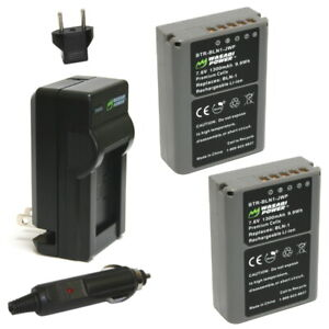 Wasabi Power Battery (2-Pack) and Charger for Olympus BLN-1, BCN-1