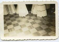 Vintage 1940s Abstract Photo Out Of Frame Southern Belle Girl Dresses Tile Floor