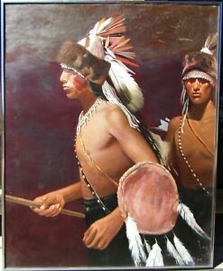 Signed Native American Young Navajo Warriors Large Older Oil Painting NO RESERVE